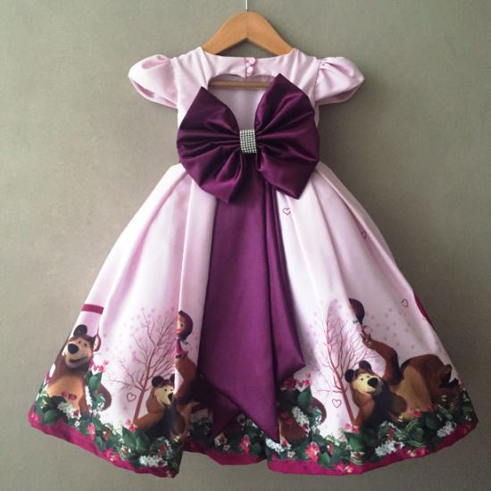Vestido de Festa Rodado Menina e Urso