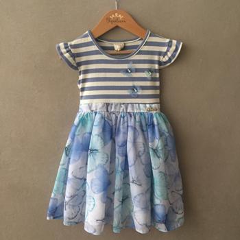 Vestido Infanti Azul Borboletas