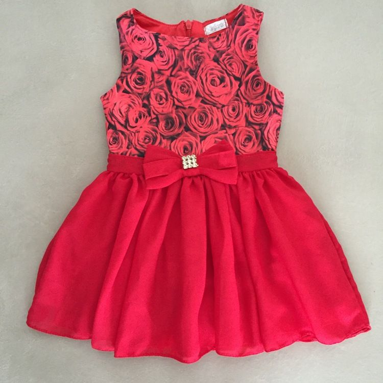 Vestido Infanti Rosas Vermelhas