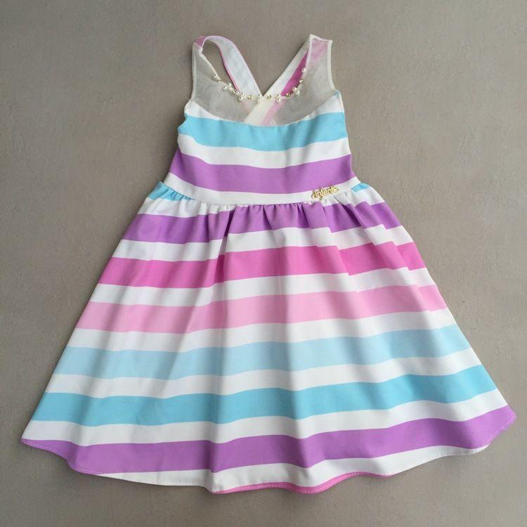 Vestido Infantil Em Cetim Listrado Infanti