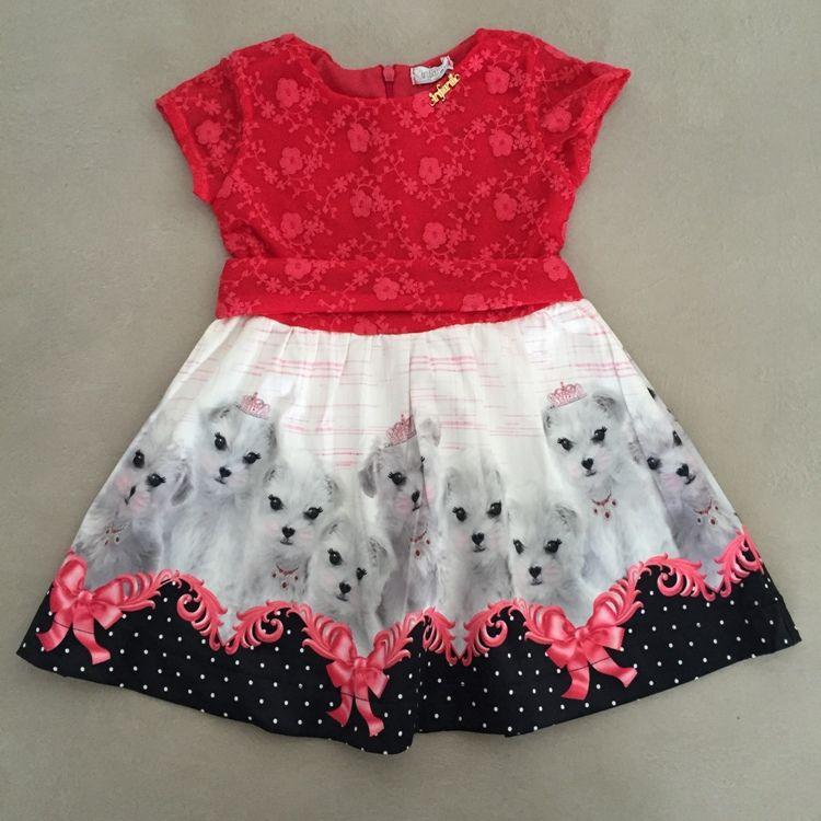Vestido Infantil Renda Rosa Com Estampa Cachorrinhos Infanti