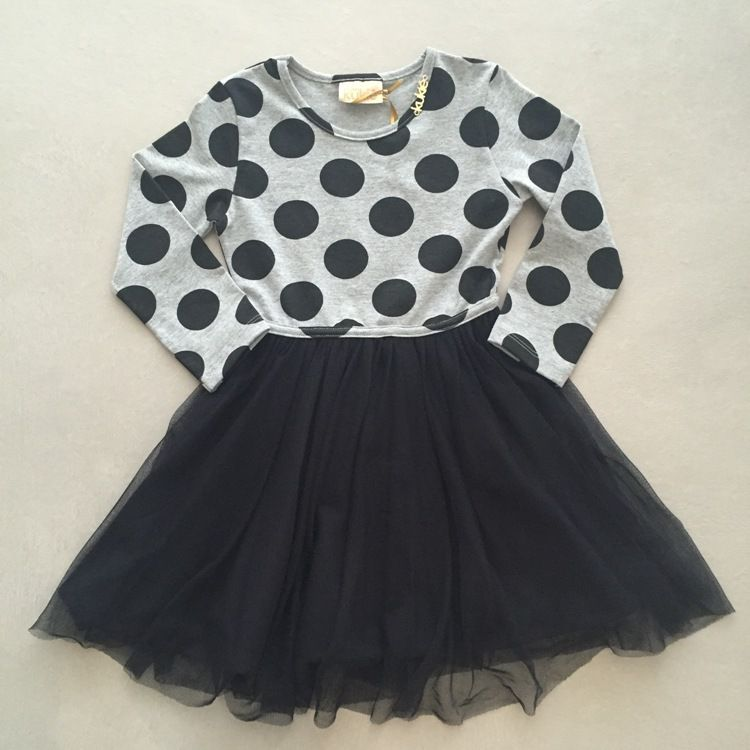 Vestido Infantil Cinza com Poá Preto e Saia em Tule Le Petit Kukiê