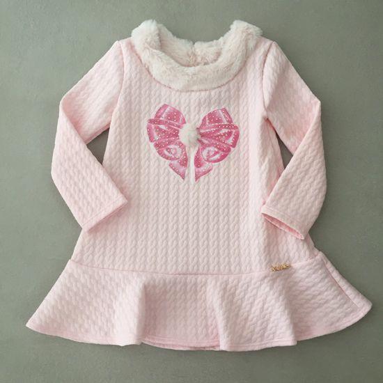 Vestido Le Petit Kukiê com Gola em Pêlo Sintético Rosa