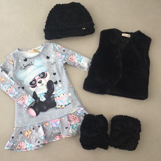 Vestido Le Petit Kukiê Panda com Colete em Pêlo Sintético Preto