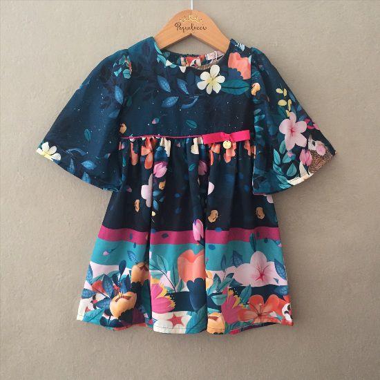 Vestido Meia Manga Sino Azul Marinho