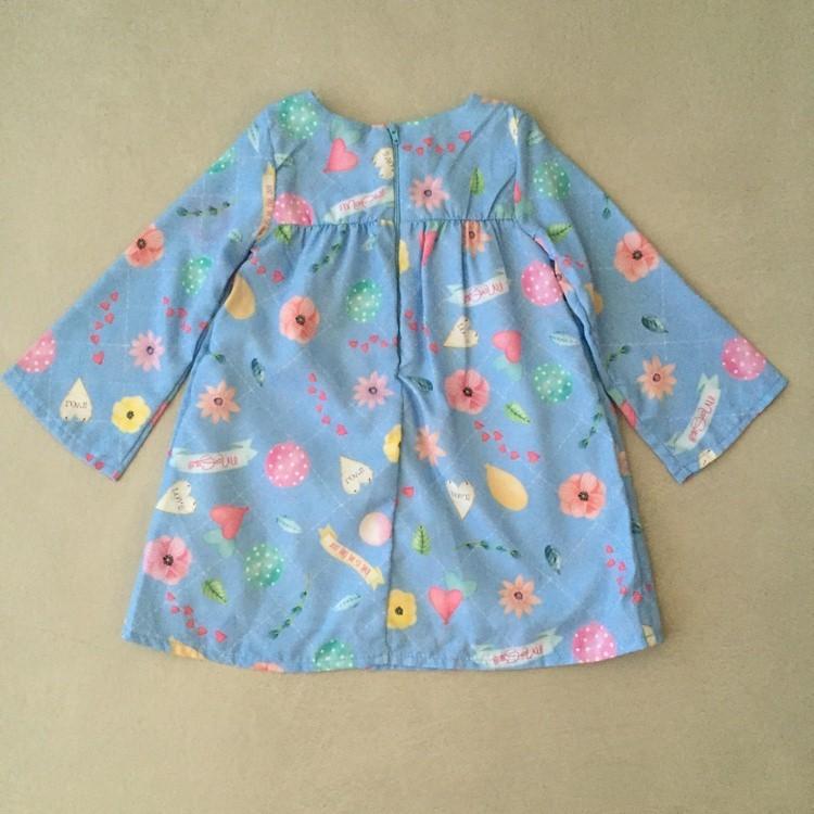 Vestido Manga Longa Azul Estampado Mon Sucré