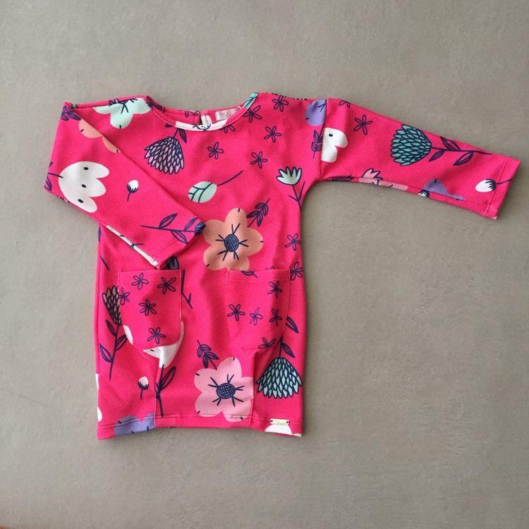 Vestido Infantil Mon Sucré Rosa com Estampa Floral e Barra Elástica