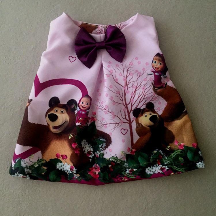 Vestido para Boneca  Menina e Urso