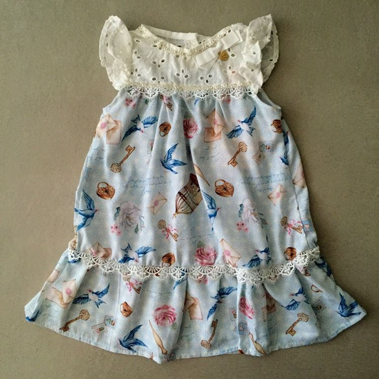 Vestido Infantil Petit Cherie Azul e Offwhite