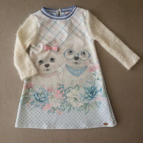 Vestido Petit Cherie com Mangas em Pêlo Pets