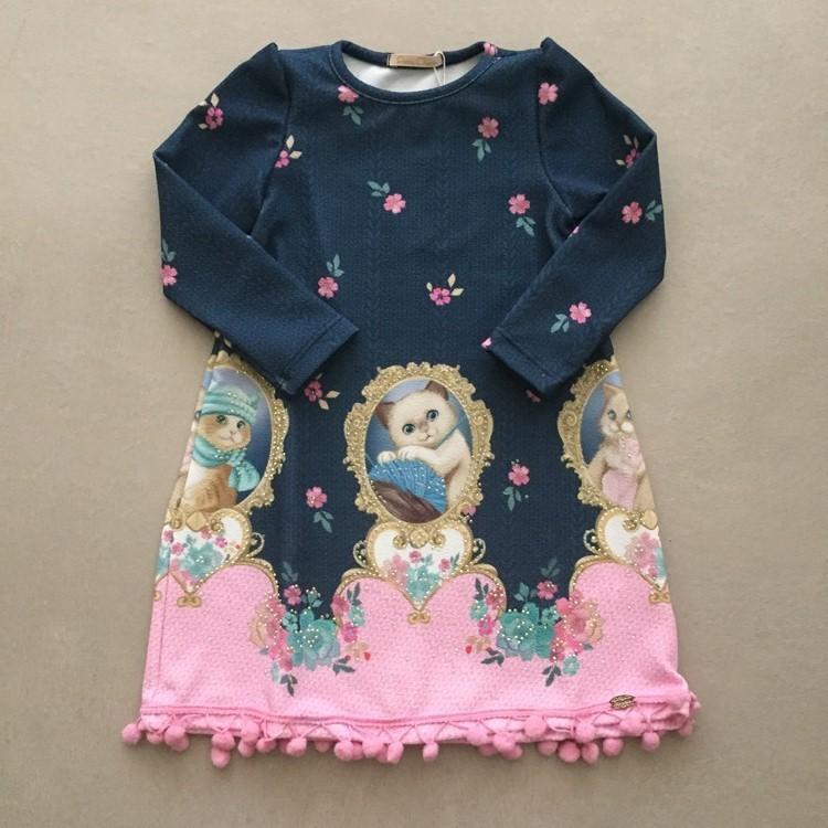 Vestido Petit Cherie Gatinhos Pompom