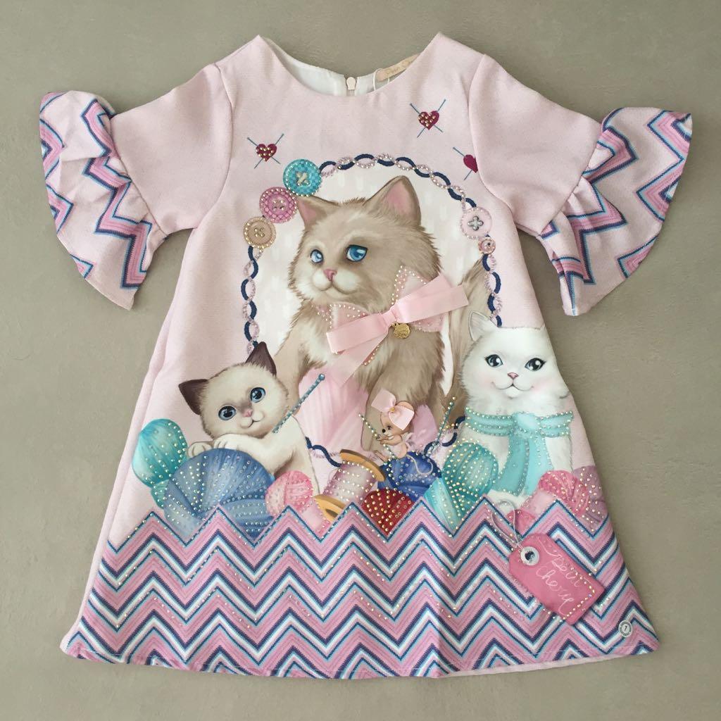c2cd669ca7 Vestido Infantil Sweet Kitten Petit Cherie