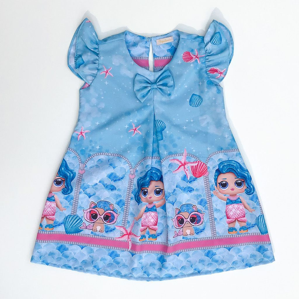 Vestido Trapézio Boneca Surpresa Fundo do Mar