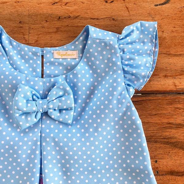 Vestido Temático Galinha Pintadinha Poa Azul