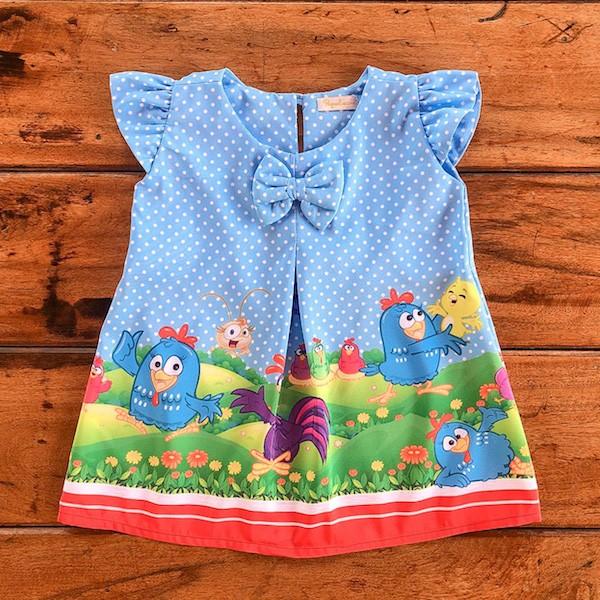 Vestido Temático Galinha Pintadinha Poa Azul Manga Princesa