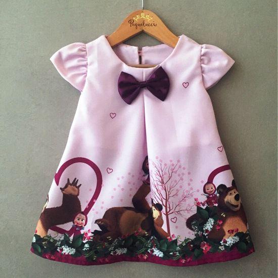 Vestido Trapézio Menina e Urso