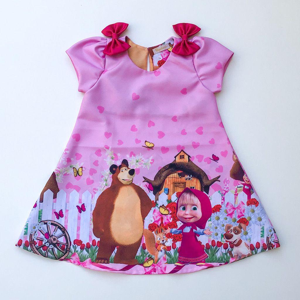 Vestido Trapézio Menina e o Urso