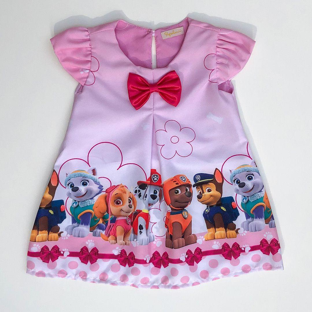 Vestido Trapézio Patrulha de Filhotes Laço Rosa