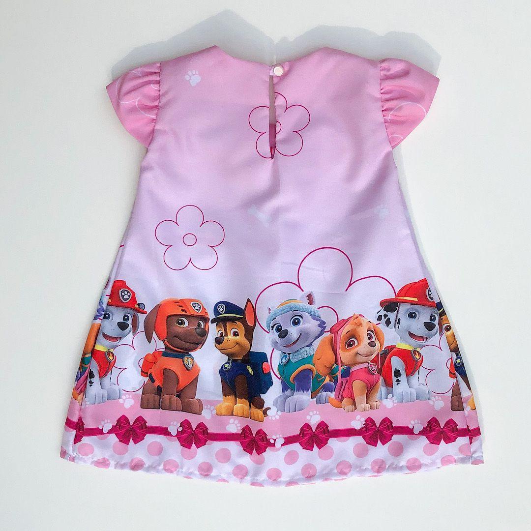 Vestido Temático Patrulha de Filhotes Laço Rosa