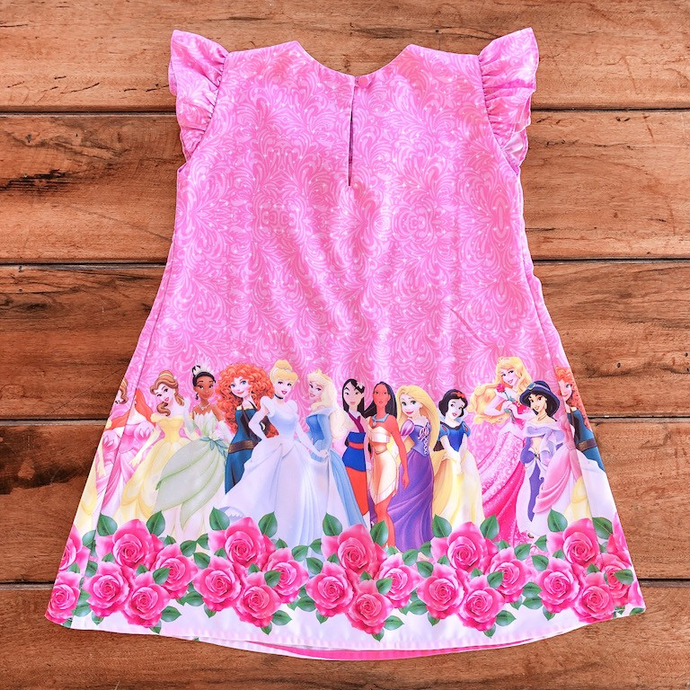 Vestido Trapézio Princesas Rosa