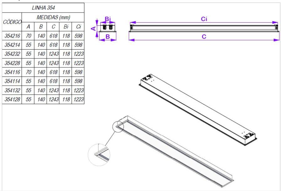 Luminária de Embutir para Forro Modular e Gesso 1242 x 140 x 55mm