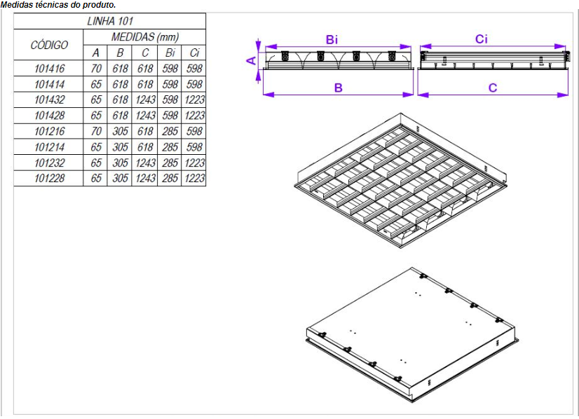 Luminária de Embutir para Forro Modular e Gesso 618 x 618 x 70mm