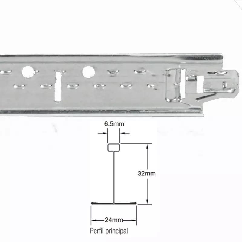 Perfil para Forro Aço T Clicado Longarina 24 x 3125mm (Pç) - Armstrong