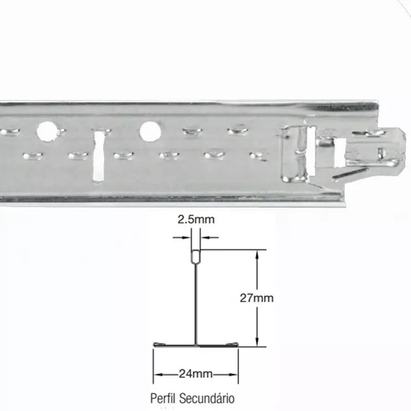 Perfil para Forro Aço T Clicado Travessa 24 x 1250mm (Pç) - Armstrong