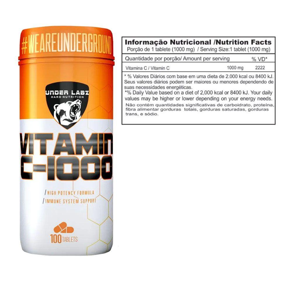 100% Glutamina 300G - Essential + Vitamina C 1000 100 Tabs  - KFit Nutrition