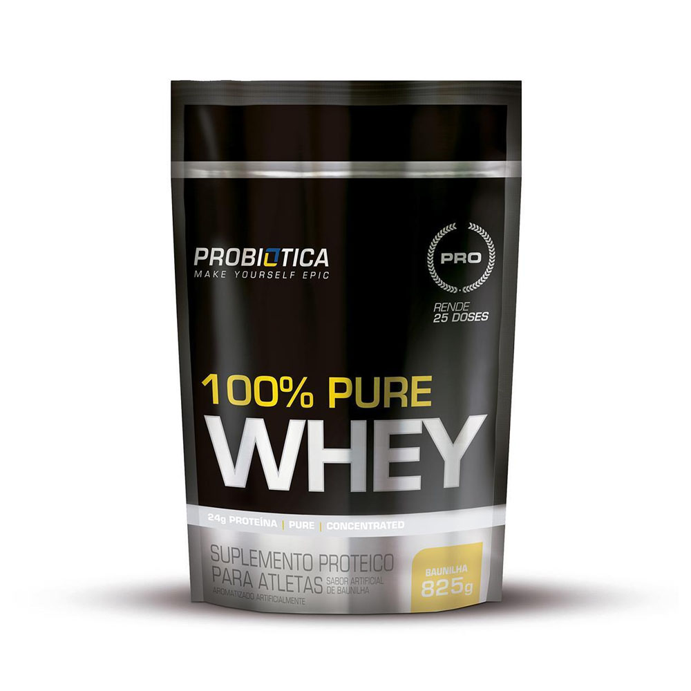100% Pure Whey Refil 825g Baunilha - Probiótica  - KFit Nutrition