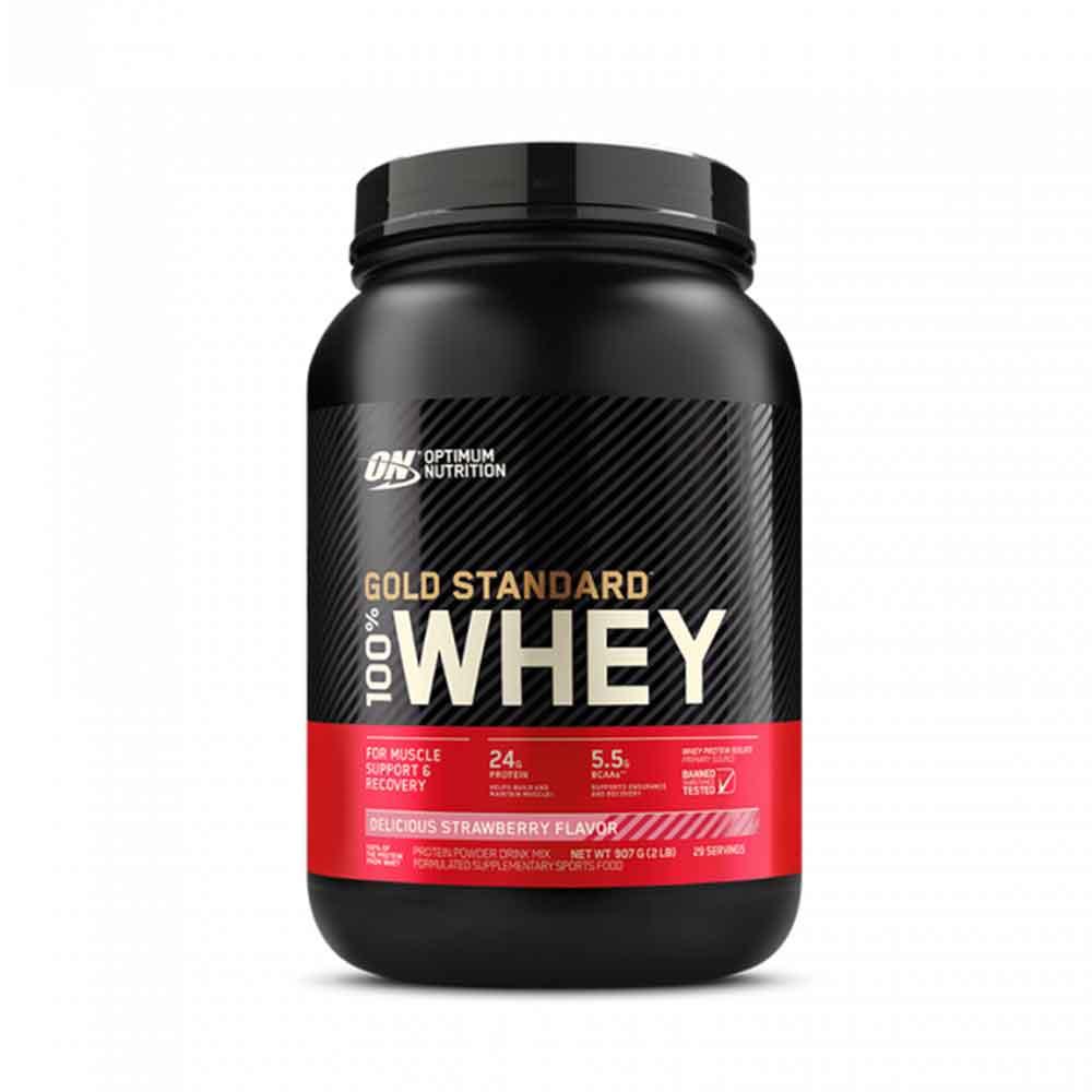 100% Whey Gold Standard 900g- Optimum Nutrition Morango  - KFit Nutrition
