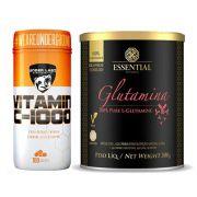 100% Glutamina 300G - Essential + Vitamina C 1000 100 Tabs