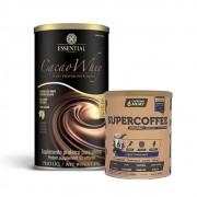 Cacao Whey 450G - Essential e Supercoffee 220g Chocolate