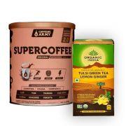 Chá Tulsi Limão e Gengibre 25 Sachês + Supercoffee 220g
