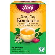 Chá Yogi Green Tea Kombucha Maracuja e Ameixa com cafeína - Display com 16 sachês