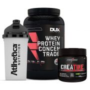 Whey 900g Morango + Creatine 200g + Bottle 500ml