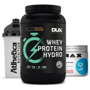 Whey Hydro 900g Chocolate + Glutamina 300g + Bottle