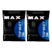 2 Un Top Whey 3w Refil 1.8kg Abacaxi 2 Un  Max Titanium