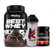 Best Whey Chocolate Brownie 900G + L-Glutamine 300G + Coqueteleira