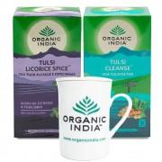 Chás Tulsi Licorice e Tulsi Cleanse  GANHE Caneca Organic India