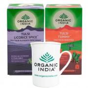 Chás Tulsi Licorice e Tulsi Tummy GANHE Caneca Organic India