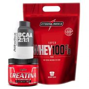Kit KFit Nutrition Whey Morango + BCAA + Creatina Integral Medica