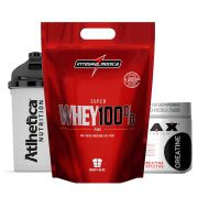 Super Whey 900g Chocolate + Creatina 300g Max + Bottle