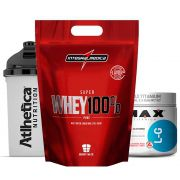 Super Whey 900g Morango + Glutamina 300g + Bottle 500ml