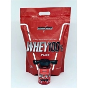 Kit Super Whey Morango 100% 900g + Bcaa 60 Caps