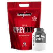 Kit Super Whey Morango 100% 900G + Bcaa 60 Caps