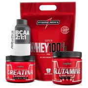 Kit Super Whey Morango 900G +Bcaa + Creatina 150G +Glutamina