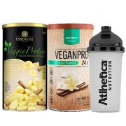 Veggie Whey Banana + VeganPro Baunilha 550g + Bottle