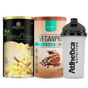 Kit Veggie Whey Banana + VeganPro Cacau 550g + Bottle