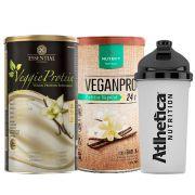 Veggie Whey Baunilha + VeganPro Baunilha 550g + Bottle